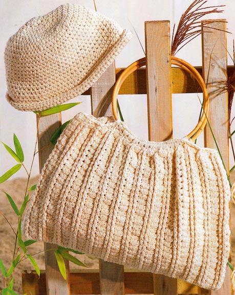 вязаная сумка и пляжная панама схемы вязания