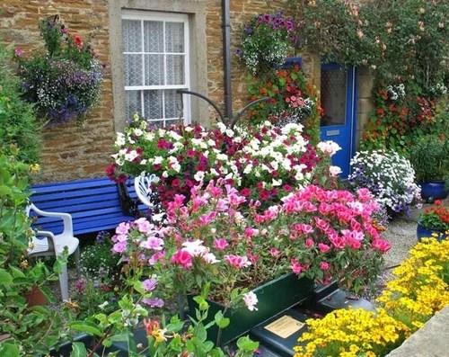 декор двора цветущими растениями клумбы во дворе