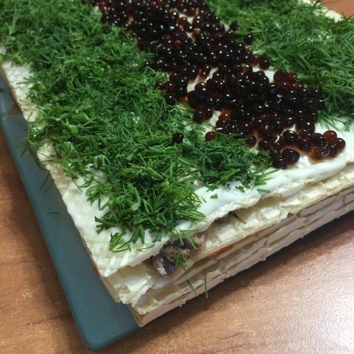 Закусочный вафельный торт