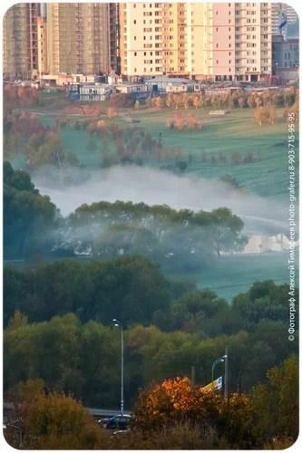Виды из окна, заморозки, олимпийская деревня, осень, пейзажи, природа, рассвет, туман, утро