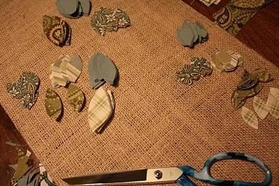 аппликация из ткани - вырезаем листья