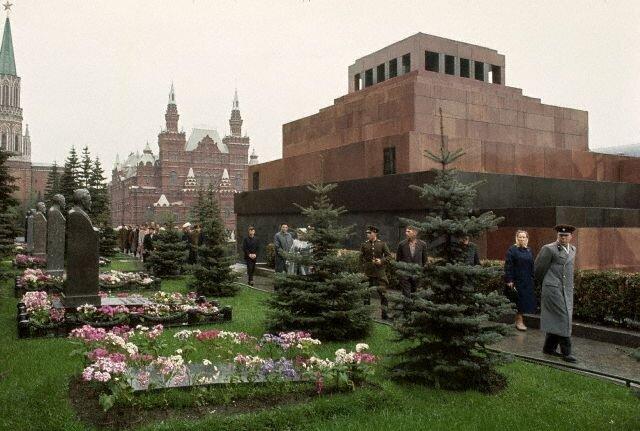 Visitors File Past Stalin's Grave Outside the Lenin Mausoleum