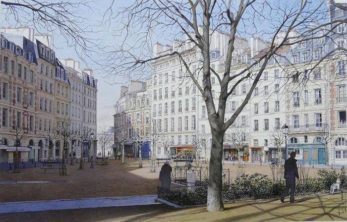 Площадь Дофина зимним утром. Автор: Thierry Duval.