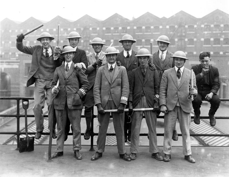 During a general strike in 1926 - students, special constables - police assistants.
