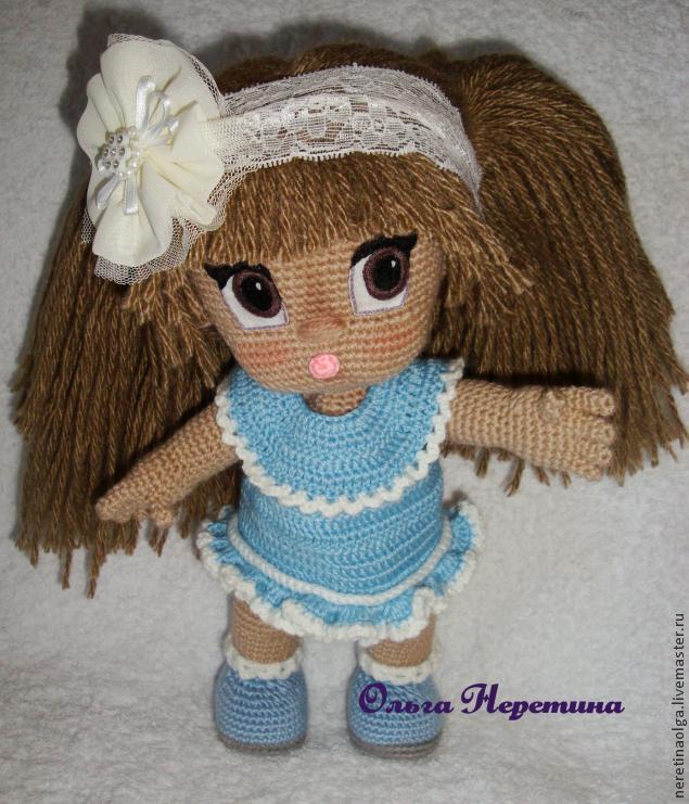 Как сделать прическу вязаной кукле. Мастер класс Ольги Неретиной