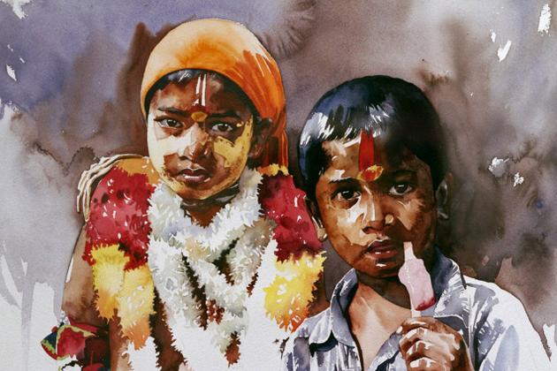 Неглянцевая Индия в акварелях Rajkumar Sthabathy