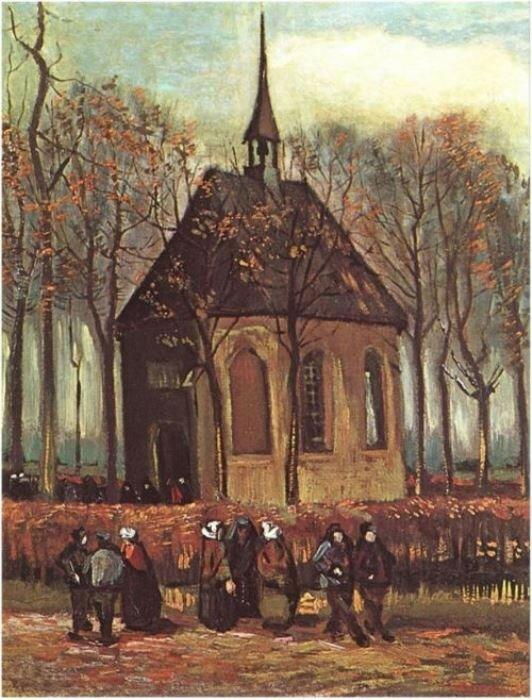Винсент Ван Гог, *Выход из протестантской церкви в Нюэнене*
