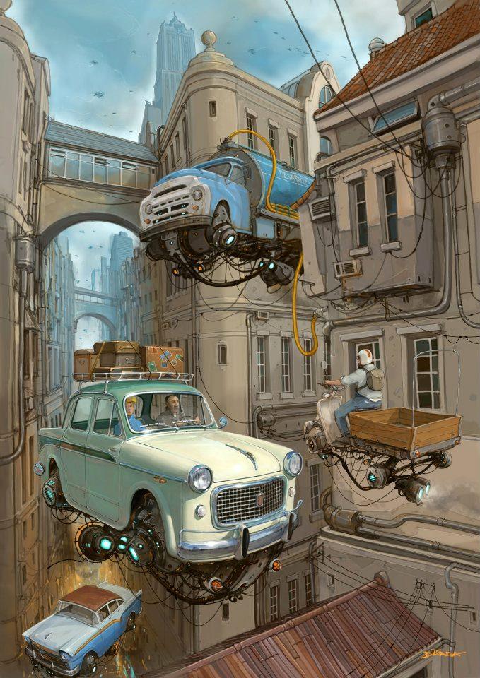 Летающие ретро-машины от Alejandro Burdisio aka Burda. 40 flying cars и прочего дизель-панка