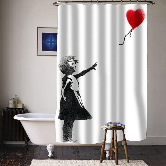 girl banksy balloon special custom shower curtains available size