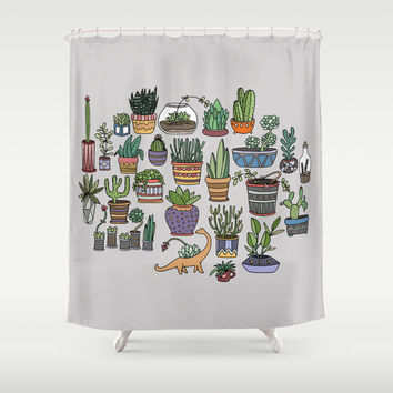 succulent party shower curtain by alliedrawsthings society6