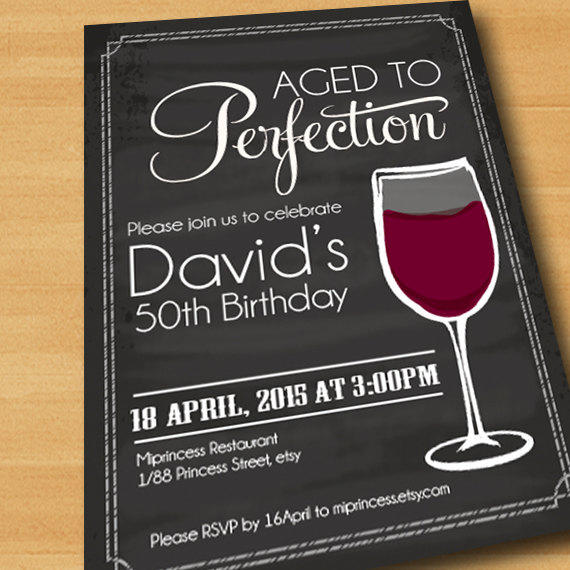 wine birthday invitation aged to perfection chalkboard party invitation cheers for any age gathering party invitation design card 196