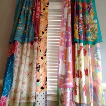 gypsy boho curtain panels window treatment bohemian anthropologie inspired ooak repurposed upcycled textiles