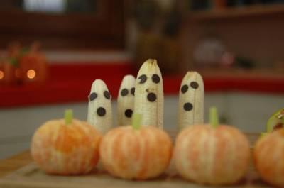 fruta decorada para halloween
