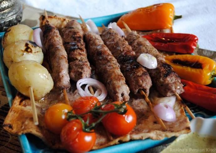Persian kebab kubideh with rice (Chelow kebab)