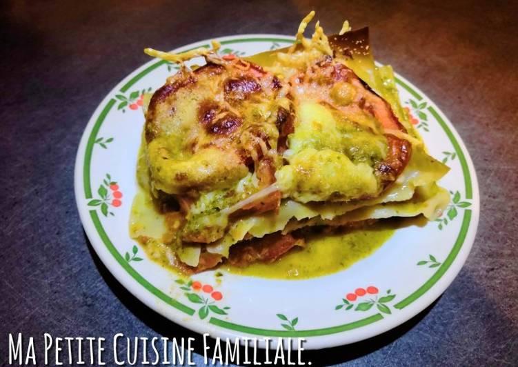Lasagnes tomates/pesto/mozzarella