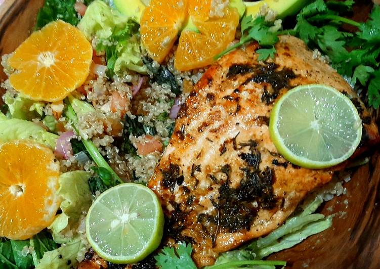 Lime'n'thyme salmon with quinoa basil salad