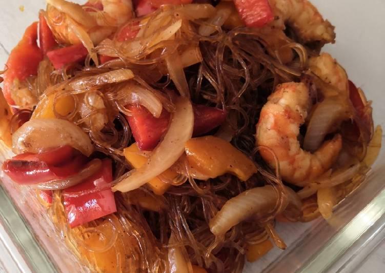 Vermicelle de riz poivrons crevettes