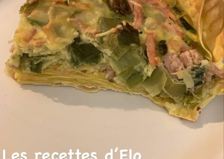 Quiche de lasagnes aux poireaux