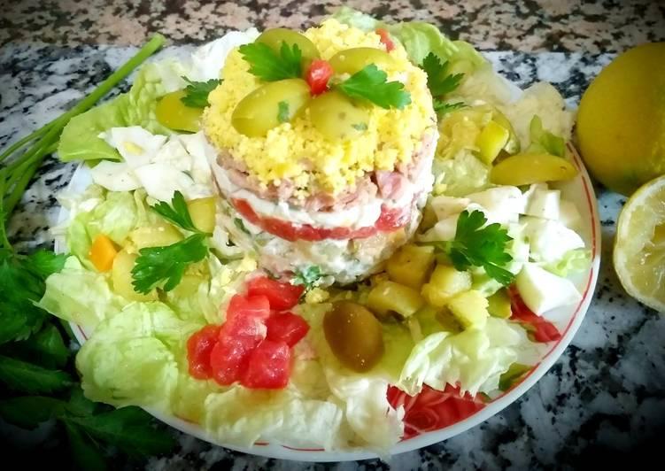 Salade oeufs mimosa aux légumes,thon