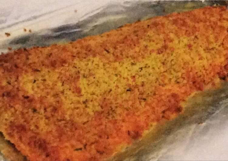 Oven baked salmon breadcrumbs