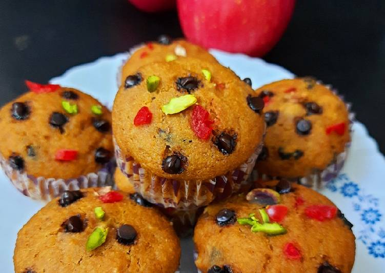 Eggless Apple Wheat Flour Muffin with Date Palm Jaggery