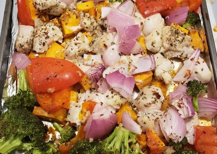 1 pan chicken with sweet potatoes & veggies