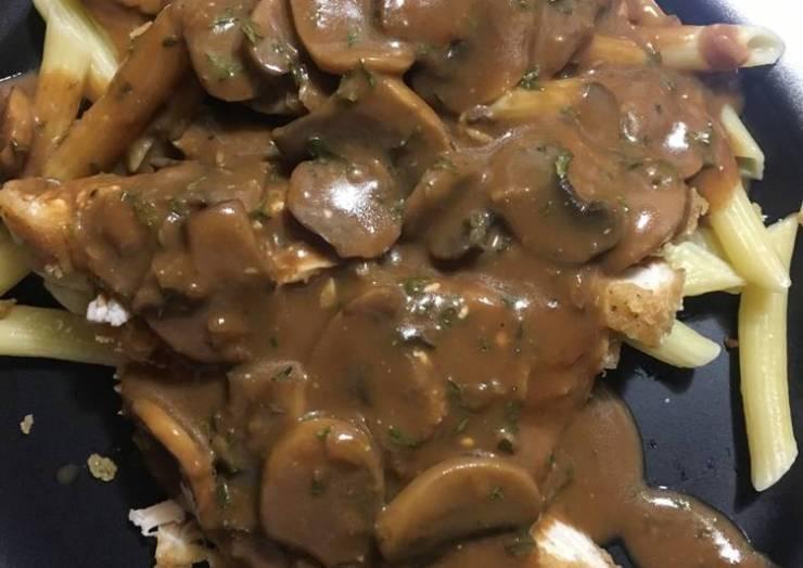 Chicken fried chicken w/ roasted garlic mushroom gravy
