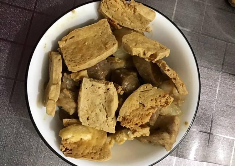 Pineapple pork with crispy tofu