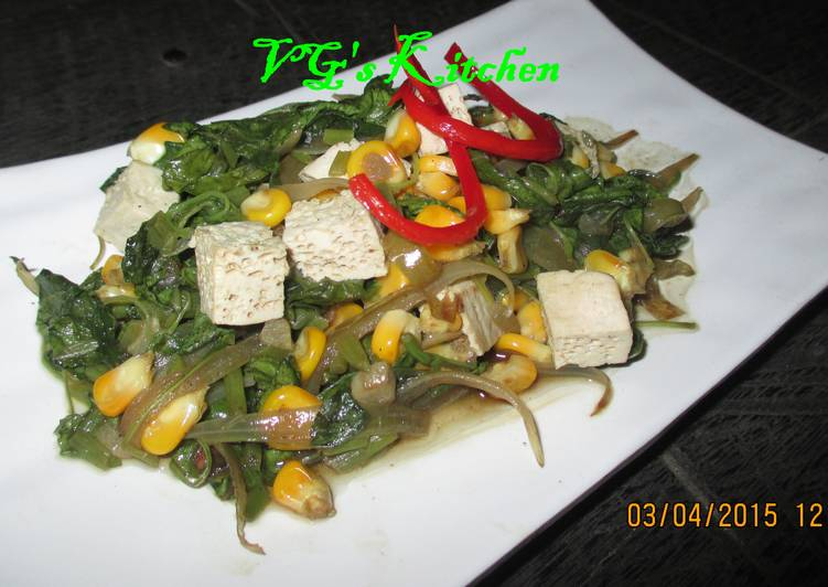 Spinach, Corn and Tofu Sauté (TUMIS BAYAM JAGUNG TAHU)