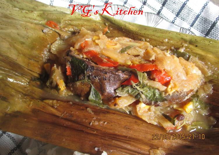 Dried Fish and Young Mango Wrapped in Banana Leaves (PEPES IKAN KERING)