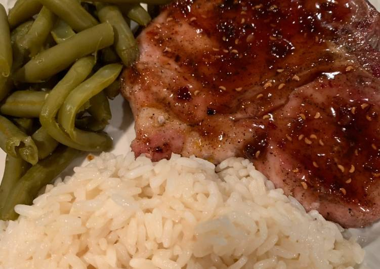 Grilled Pork Chop with a Raspberry Chipotle Sauce