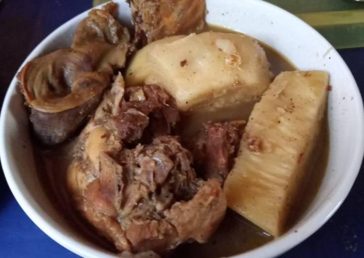 Smoked Chicken and Yam pepper soup #XmasFood #OneRecipeOneTree