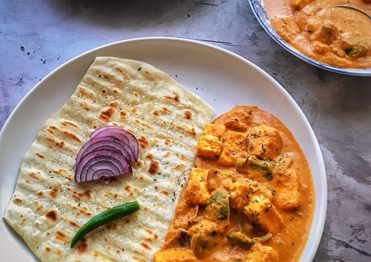 Dahi (Yogurt) Naan (Flat Bread)with Paneer Curry (Indian Cottage Cheese)  #mycookbook