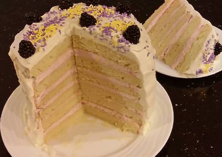 Lemon Layer Cake with Blackberrie Cream Filling and a Lemon Cream Frosting