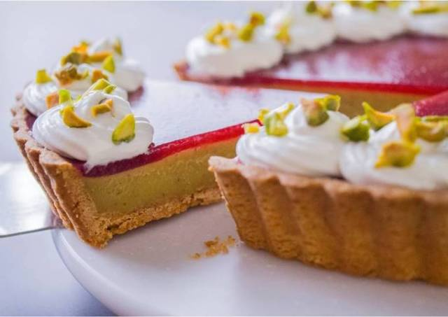 Strawberry & Pistachio Custard Tart