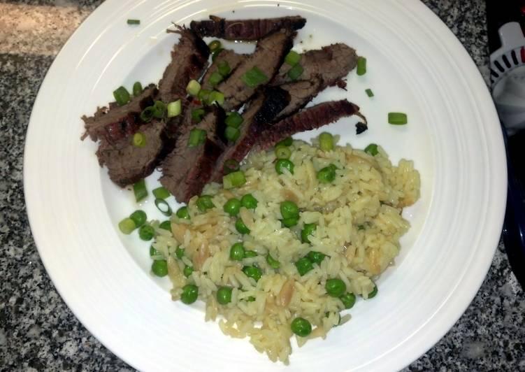 Thai flank steak with rice pilaf