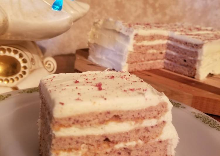 Keto/GF Cranberry Cake with Lemon Cream Cheese Frosting