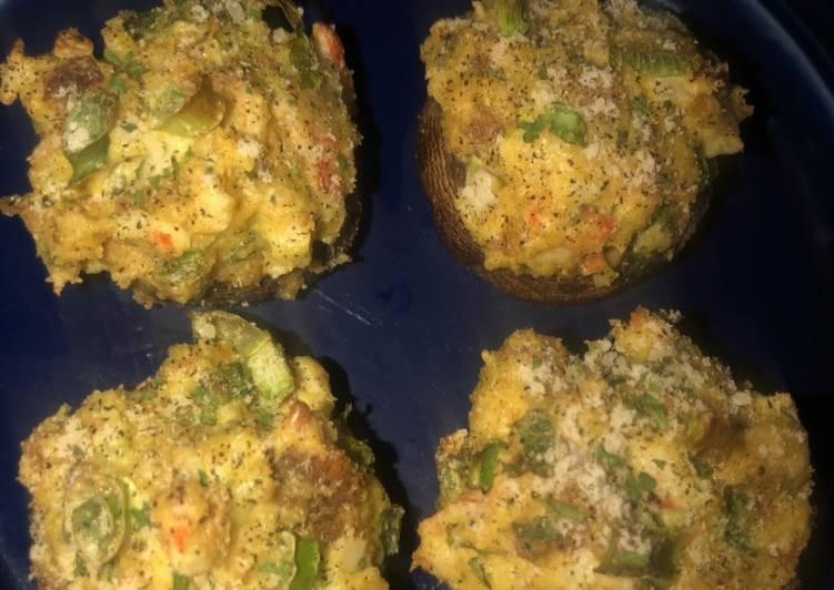 Easy Crab Stuffed Portobello Mushrooms