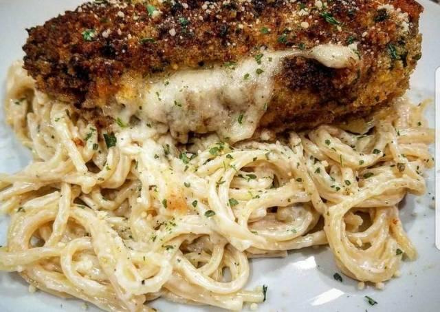 Mozzarella Stuffed Chicken with Spaghetti in Cream Sauce