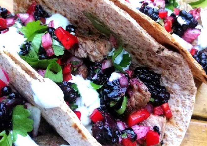 Lamb tacos with blackberry salsa and mint /chives yoghurt sauce