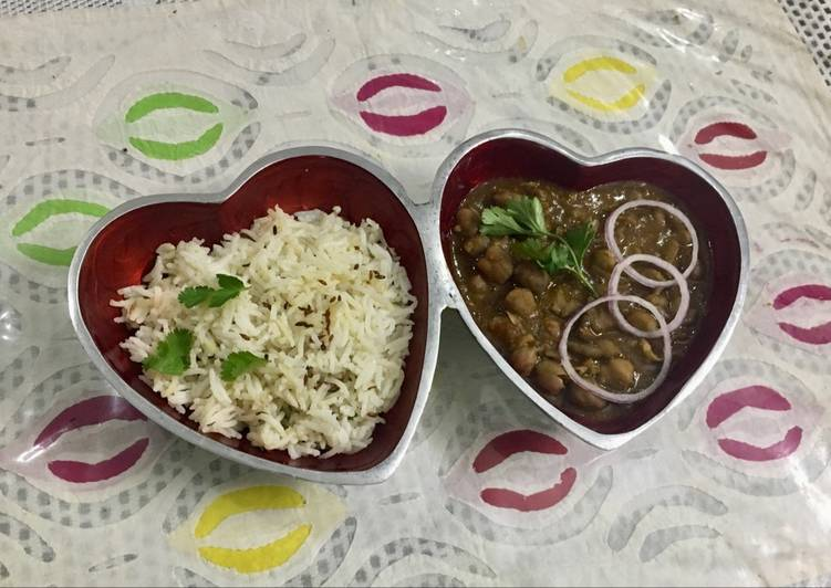 Chhole with zeera rice #valentinespecial #mealfortwo
