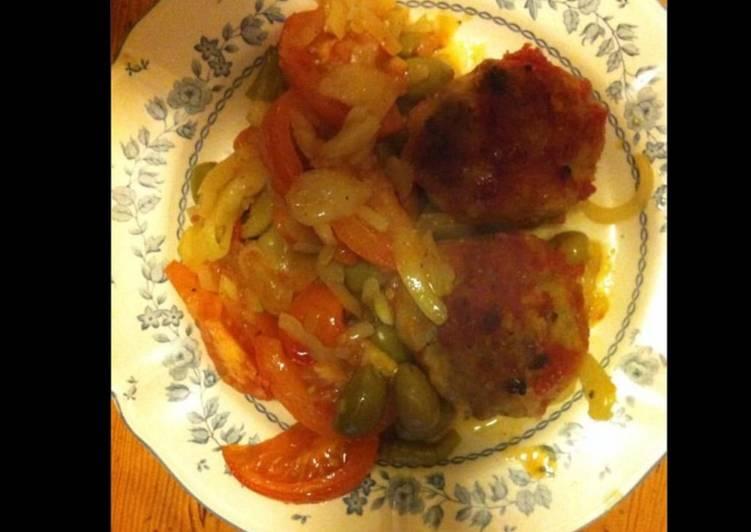 Galettes de veau aux oignons olives et tomates