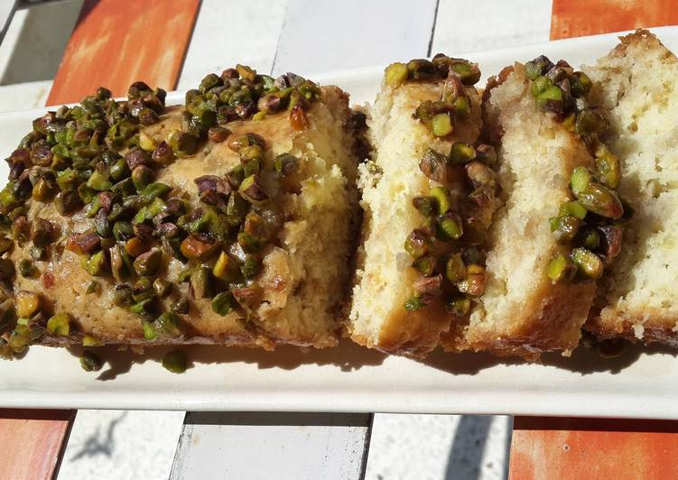 Orange and Rose Syrup Cake with Pista Crunch