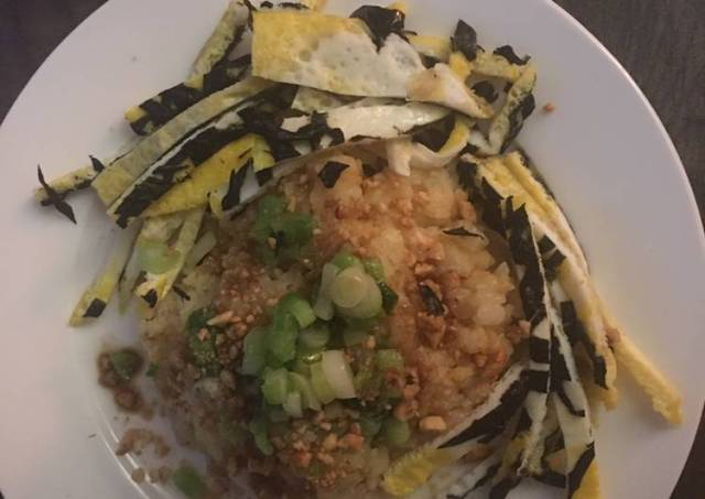 Green bean sweet rice w/ egg plus seaweed