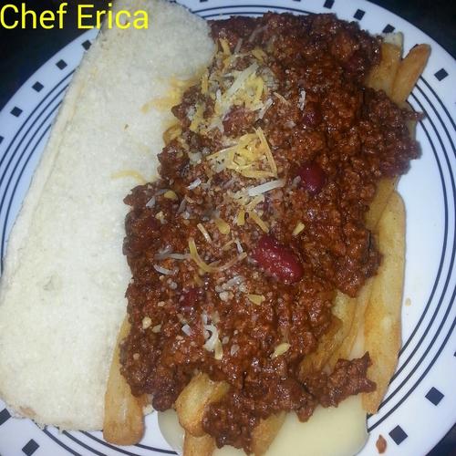 Chili french fries sandwich