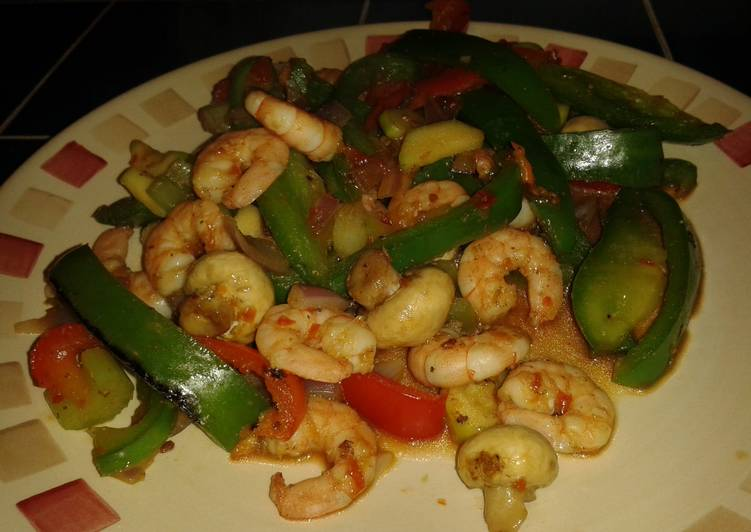 Low fat chilli king prawn stir fry