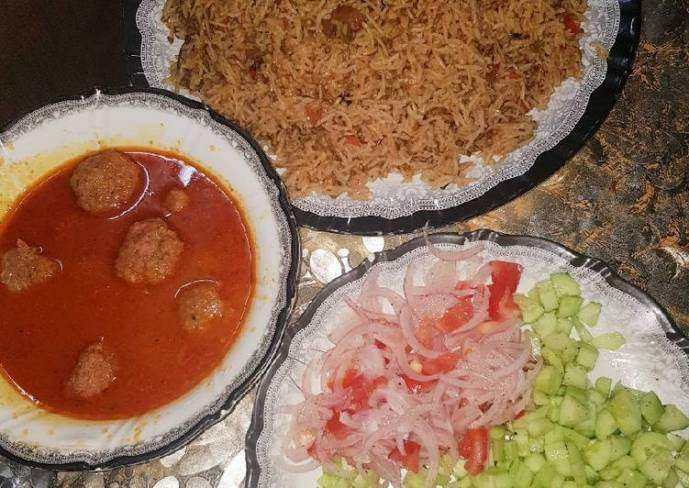 Achari Moon Pulao with Beef Kofta