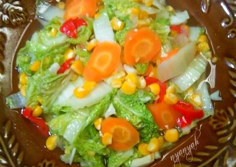 Tumis sawi putih jagung manis + wortel