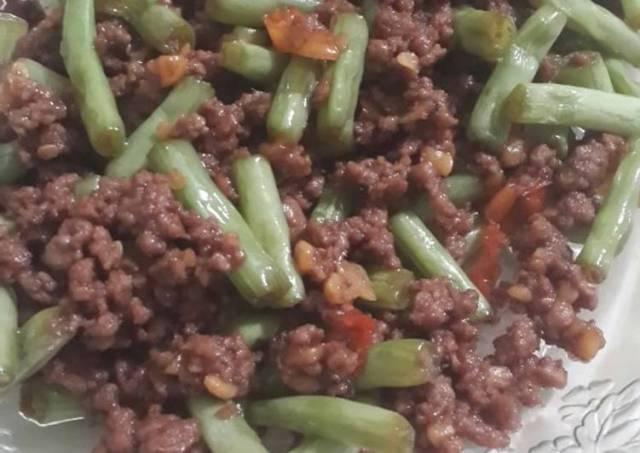 Tumis daging cincang buncis teteh