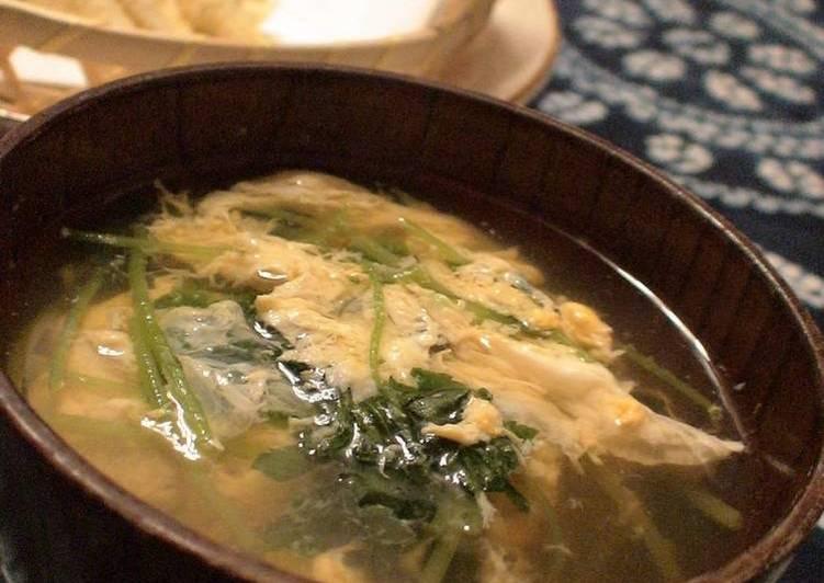 Easy Egg Drop Soup with Mitsuba